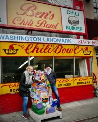 Thomas McEvatt (Sunway) and Aoife Gregg (United) outside the infamous Ben's Chilli Bowl in DC