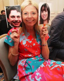 Yvonne Muldoon (Director of Sales Aer Lingus) holds up Declan and Isabel!