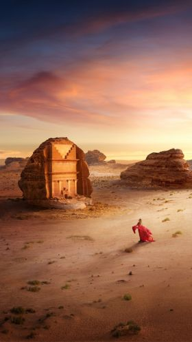 The ancient Nabatean settlement of Hegra in AlUla