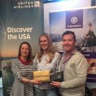 Martina Coogan (United Airlines), prize winner Sarah Appleton (Travel Counsellors) and John Grehan (G Adventures)