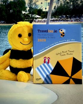 Buzzbee chillin' with the brand new Travelbiz 2020 Trade Directory & Diary