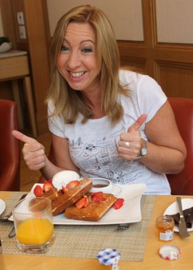 The waffle girl Michelle Lyons (Fahy Travel).