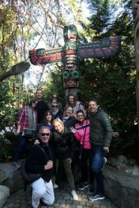 Rocky Mountaineer group in Capilano Suspension Bridge Park Vancouver
