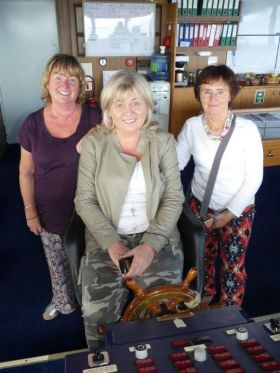 Three Mermaids on the bridge of the Oscar Wilde: Mrs Margaret Duggan Roper (Grenham Travel), Carol Anne O'Neill (Worldchoice Ireland) and Ms Bronagh Sweeney (Mc Dermott Travel)