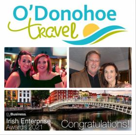 Yvonne O'Donohoe and her award-winning team in Gorey win Best Full-Service Travel Consultancy - County Wexford at the Irish Enterprise Awards 2021