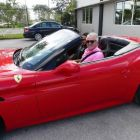 Paul Hackett (Click&Go;) driving away in the Ferrari California.