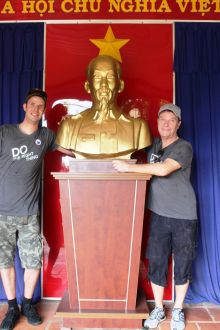 Alper Sean Hackett (Sales & Marketing Turkish Airlines) John Grehan (Ireland Manager G Adventures) get into the Viet style!