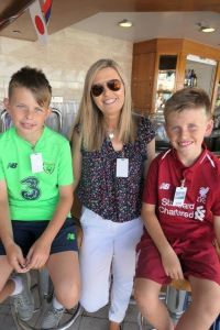 Andrea McHugh (Tully Travel Newbridge)with her sons Charlie and Sam.