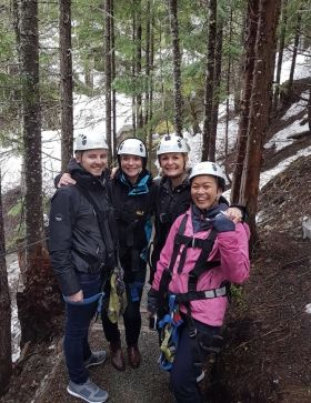Ziplining Whistler: Stephen Dalton and Amy McFadden (American Holidays Belfast),  Ashling O'Hara and Angel Chua (American Holidays Dublin)