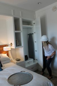 Holly Best (Virgin Atlantic) checks out the wardrobe space