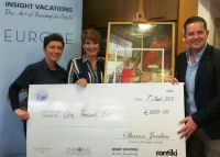 Brian Hynes (TTC) presents Fiona Flaherty (Fahy Travel) and her client Jane Coyne with €1,000 each