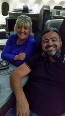 In their brand new business class B787 American Airlines business class seats en route from Chicago to Dublin is Gillian Purser (Marble City Travel) and Lee Osborne (Bookabed)