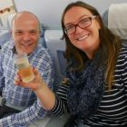 Sarah McCarthy (Travel Counsellors) and Padraic Keogh (PK Travel) getting used to the Champagne lifestyle onboard Finnair.