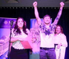 The winners: Alison Larkin (TUI Clarehall) wins the MSC, Aer Lingus, Miami CVB Lip Sync Grand Live Final with her husband.