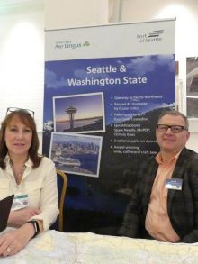 Angie Colombo and Ron Peck (The Port of Seattle) at the Aer Lingus 'Taste of America' roadshows