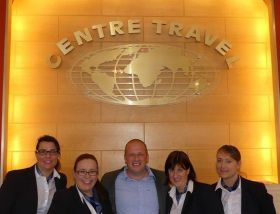 Ivan Beacom (Aer Lingus) congratulates the Centre Travel team