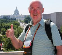 Declan Mescall (Features Editor Travelbiz) on the roof-top terrace of the Newseum