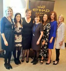 Yvonne Muldoon (Director of Sales Aer Lingus), Niamh Waters (TravelMedia.ie), Debbee Dale, Beatrice Cosgrove (GM Etihad Ireland), Karen Maloney & Val Murphy (both Ethiad) and Lorraine Quinn (Celebrity Cruises)