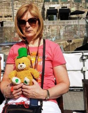 Val Metcalf (FCm) With her Irish teddy!