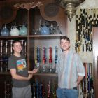 Alper Sean Kanburoglu (Turkish Airways) and Caolan Lowry (Click&Go;) checking out the collection of shisha pipes
