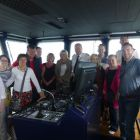 The Worldchoice Ireland group on the bridge of the Oscar Wilde with the captain and crew.