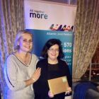 Helen Fyfe (Lufthansa) presents Siobhan (Gail Travel) her prize on the night