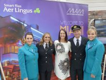 Jenny Rafter (Head of Business Development Leisure Sales Aer Lingus) with the crew