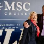 Alana Shannon Byrne (MSC Cruises) greeting Don Shearer (Travelbiz.ie) at Southampton Port
