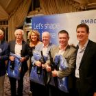 The overall winners of the group event were Con Horgan, John Spollen, Tom Coade and Paul Sexton. Pictured with Olwen McKinney and Claudio Santos from Amadeus