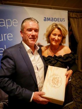 Niall Mc Donnell, our MC on the night with Olwen McKinney (Amadeus)
