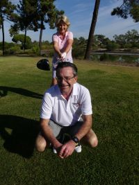 Olwen McKinney (Amadeus) Tees it up on Declan Power (Shannon Airport) at Troia Golf at the ITAA Conference Golf Day