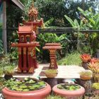 A Thai shrine where offerings are made