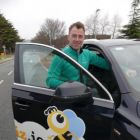 Dermot gets a lift in the Travelbiz Hertz 'Hivemobile'