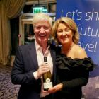Martin Skelly (Navan Travel) wins some wine thanks to Olwen McKinney (Amadeus)
