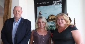 The Silversea team of Peter Shanks (Managing Director UK & Ireland), Connie Georgiou (Sales Director UK, Ireland, Middle East & Africa) and Amanda Middler (Regional Sales Manager Scotland & Ireland).