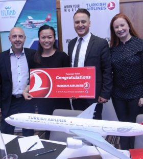 Brian McCarthy (Island Escapes), Precious Angelchun (Travelmood & winner of seat on Maldives Fam), Onur Gull (Turkish Airlines) and Julienne Curran (Corporate Sales Manager)