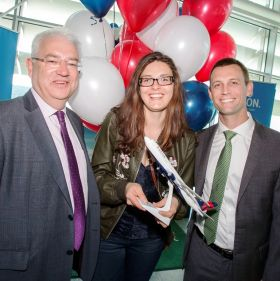 Vincent Harrison (MD Dublin Airport), Rye Carroll (Passenger) and Alex Antilla (Delta Director Transatlantic Network)