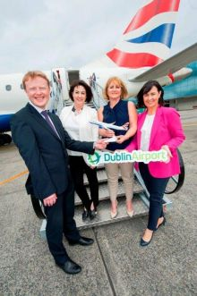 Stephen O'Reilly (Dublin Airport), Brenda Morgan(BA Key Partnership Manager UK & Ireland) Tara Magee (BA Consumer Sales Manager) and Edel Redmond (Dublin Airport).