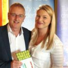 Holly Best (Account Manager (Virgin Atlantic Airways) presents Noel McAuliffe (MD Travel Focus) the overall prize on the day - 2 Economy Plus tickets with Virgin Atlantic