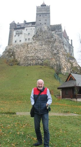 Declan Mescall (Features Editor Travelbiz) trying to look scared at Bran, Dracula's Castle.