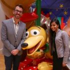 Our hosts on the tour Mark Frias-Robles and Priya Kular (Disney) with Slinky the dog from Toy Story