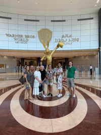 Irish group outside Warner Bros. World on Yas Island