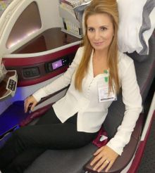 Lorraine Lawless (Travel Counsellors) enjoying Qatar Airways award winning business class on the B787 Dreamliner