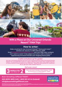 WIN A PLACE ON THE 2019 UNIVERSAL ORLANDO FAM TRIP