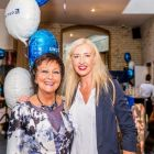 Maureen and Tryphavana at the United Airlines 20th Birthday party in the Trinity Hotel Dublin