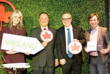 Dana Welch, Tourism Ireland; Virgilio Russi, Air Canada; HE Jim Kelly, Ambassador of Ireland to Canada; and Declan Power, Shannon Airport, at the Tourism Ireland event in Toronto