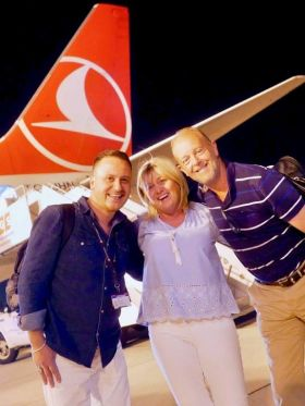 Next stop Mauritius! Onur Gull (Turkish Airlines), Carol Anne O'Neill (Worldchoice) and Martin Penrose (IfOnly)