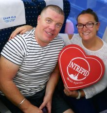 Brendan White (Tropical Sky) and Sarah McCarthy (Travel Counsellors) onboard the Bullet Train