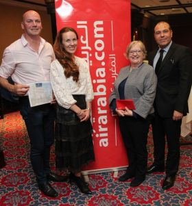 Winners on the night: Thomas Murray (Click&Go;) Maired Ryan (Leisure Sales Manager Europe Air Arabia) Anita Thomas (Sunway) and Amine Boughaleb (Director UK & Ireland Moroccan National Tourist Office)