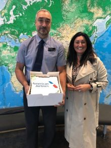 David loves his cake. Siobhan Bosket and Dave Hayeems (Trailfinders)
